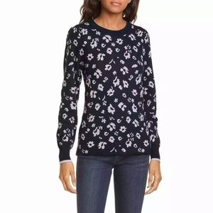 Rebecca Taylor Floral Jacquard Puff Sleeve Sweater